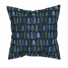 Christmas Holiday Winter Tree Forest Snow Flanged Throw Pillow Cover by Roostery
