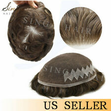 Full French Lace Mens Toupee Natural Front Hair System Replacement Hairpieces