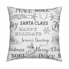 Holiday Script Christmas Winter Throw Pillow Cover w Optional Insert by Roostery