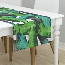 Table Runner Leaves Tropical Banana Leaves Green Banana Leaves Cotton Sateen
