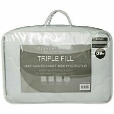 Triple Fill Quilted Mattress Topper Protector Cover, Single Double King Size