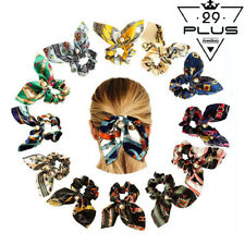 Fashion Women Silk Hair Scrunchies Pearl Bowknot Hairband Ponytail Holder Tie