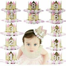 1To9 Years Old Baby Girls Birthday Party Hat Princess Crown Cap Party Decoration