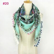 Women Scarf Spring Summer Scarf With Pom Poms Floral Square Hijab Cotton