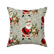Santa Claus Xmas Christmas Throw Pillow Cover w Optional Insert by Roostery