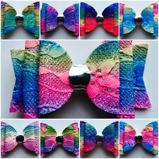 """Multi Coloured Imprinted/Embossed Hair Bows- 9 designs- 3.5"""" With Clips- Rainbow"""