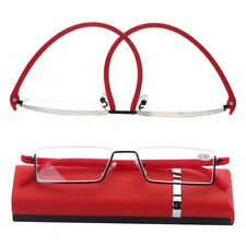 Case TR90 Portable Reader Eyeglasses Reading Glasses Half Frame Semi Rimless