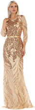 SPECIAL OCCASION 3/4 SLEEVE FORMAL DRESS MOTHER OF THE BRIDE SEQUIN EVENING GOWN