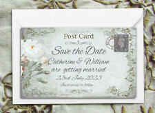 SAVE THE DATE MAGNETS PERSONALISED White Rose Rustic Mini Postcard Design