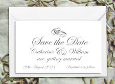 SAVE THE DATE MAGNETS PERSONALISED Silver Wedding Rings Design with Envelopes