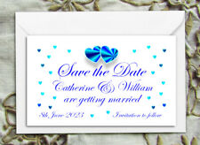 SAVE THE DATE MAGNETS PERSONALISED Wedding Blue Hearts Design with Envelopes