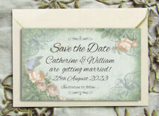 SAVE THE DATE MAGNETS PERSONALISED Butterfly & White Flowers Romantic Wedding