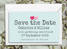 SAVE THE DATE MAGNETS PERSONALISED Polka Dots & Hearts With Envelopes
