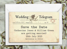 Save the Date Magnets - Personalised Shabby Chic Vintage Telegram