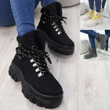 WOMENS LADIES LACE UP ANKLE CHUNKY BOOTS PLATFORM HEEL COMBAT SHOES SIZE