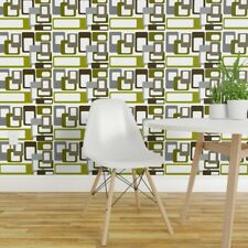 Removable Water-Activated Wallpaper Mid-Century Modern Squares Mcm Geometric