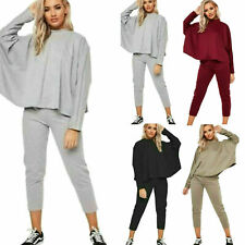 Womens Ladies Batwing Boxy Lounge Wear Tracksuit Set Casual Comfy Two Piece