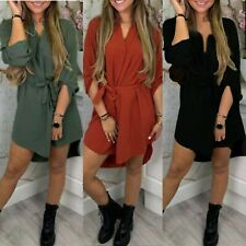Womens Ladies High Low Dip Belted Plunged Shirt Dress Mini Party Dress Top
