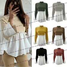 Womens Ladies High Neck Shirt Hem Fine Knitted Bell Sleeve Jumper Sweater Top