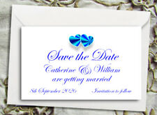 Save the Date Magnets - Personalised Blue Hearts Design With Envelopes