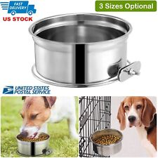 S-L Stainless Steel Hanging Food Water Bowl For Crate Cages Pet Dogs Cats Birds