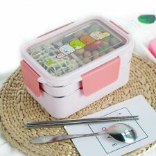 Kids Cartoon Lunch Box Stainless Steel Double Layer Food Container Portable Box