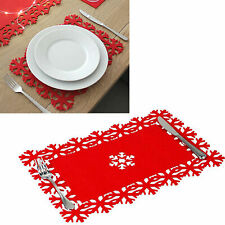 🔥Christmas Felt Table Place Mat Xmas Party Decorations Snowflake Covers Dinner