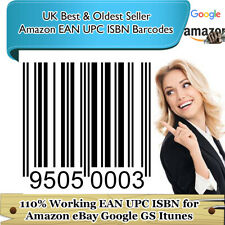 10-20k valid EAN barcodes numbers codes UPC bar code google itunes esty lifetime