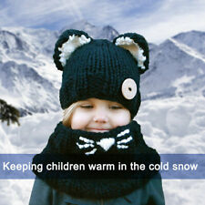 2Pcs Kids Winter Knitted Hats+Scarf Set Warm Cap for 2-6 Year Old Boys Girls