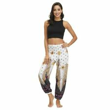 Women Bohemian Pants Loose Floral Print Beach Trousers Thai Harem Smock Hippy