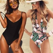 2019 Sexy One Piece Swimsuit Women Swimwear Female Solid Black Thong Backless