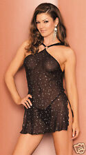 SEXY VACARI CHEMISE  & G-STRING LINGERIE SET NEW Blacks, Everyday, S m l xl