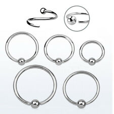 PAIR 18g,16g,14g Steel ONE SIZE FIXED BALL Captive Ring Ear Tragus Septum Labret