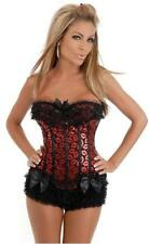 Sexy Burlesque Black & Red Kiss Lips Corset Moulin Rouge Bustier Top Lingerie