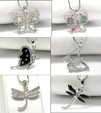 NEW CRYSTAL BUTTERFLY OR DRAGONFLY PENDANT NECKLACE