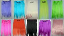 "WIDE SYNTHETIC HAIR EXTENSIONS FULL HEAD CLIP IN NEON COLOURS 20"" PARTY DISCO"