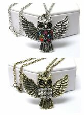 NEW CRYSTAL OWL WINGS PEDANT LONG CHAIN NECKLACE