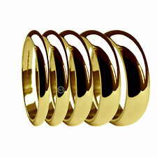 18ct Yellow Gold D Shape Wedding Rings X Heavy 2, 3, 4, 5, 6mm 750 UK HM Bands