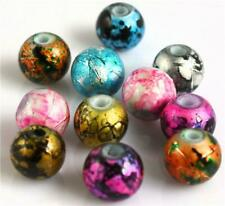 100x 4mm or 70x 6mm or 50x 8mm Glass Drawbench Beads 10 Colour Choice