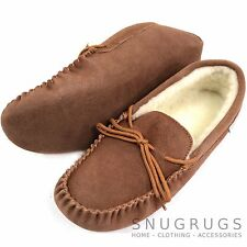 SNUGRUGS MENS GENUINE SUEDE MOCCASIN SHEEPSKIN SLIPPERS SOFT SOLE LIGHT BROWN