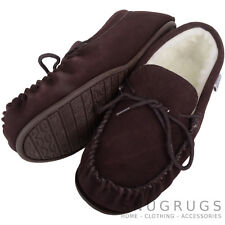 SNUGRUGS LADIES GENUINE SUEDE MOCCASIN SHEEPSKIN SLIPPERS HARD SOLE DARK BROWN