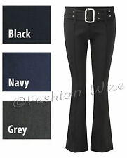 Ladies Girls Black Grey Navy School Trousers Stretch Hipster Skinny Buckle Belt