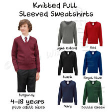 Boys School Jumper Knitted Sweatshirt V Neck School  Ages 3-18 + Adult Size