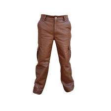 SEXY MENS REAL BROWN COW LEATHER 6 POCKETS CARGO PANTS JEANS -(CARGO2-BRW)