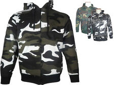 REDUCED MENS HOODIE TOP FULL ZIP ARMY CAMOUFLAGE CAMOUFLAGE HOODED TOP S-4XL