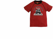 Boys T Shirt Caterpillar Cat Red 100% Cotton Work Zone Earth Moving Machines New