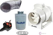 """SMF100S 4"""" Carbon Filter Duct Kit Hydroponic Grow Room Tent Ventilation UK PLUG"""