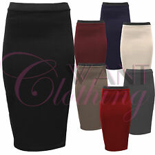LADIES BODYCON NEW PENCIL SKIRTS WOMENS STRETCH WAIST SKIRT LONG OFFICE WORK