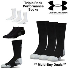 UNDER ARMOUR SOCKS HEATGEAR WHITE OR BLACK X3 PACK PAIRS CREW SOCKS MENS SIZE L