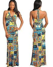 WOMENS LADIES LONG ABSTRACT HALTER NECK FISH TAIL HEM PARTY DRESS SIZE 12 14 16
